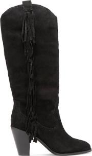 Woman Fringed Suede Knee Boots Black Size 38