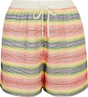 Woman Beaded Silk Georgette Shorts White Size S