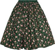 Woman Embellished Embroidered Cotton Midi Skirt Emerald Size L