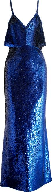 Woman Sequined Silk Gown Royal Blue Size S