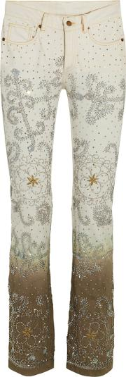 Woman Voyage Embellished Degrade Mid Rise Bootcut Jeans White