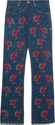 Woman Voyage Embellished Embroidered Mid Rise Straight Leg Jeans Dark Denim Size M