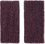 Woman Cable Knit Cashmere Fingerless Gloves Dark Purple Size Onesize