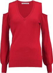 Woman Cold Shoulder Cashmere Sweater Red Size Xs