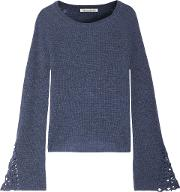 Woman Crochet Trimmed Ribbed Cashmere Sweater Mid Denim