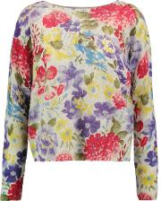 Woman Floral Intarsia Cashmere Sweater Neutral Size S