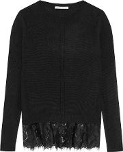 Woman Lace Trimmed Cashmere Sweater Black Size Xs