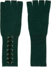 Woman Lace Up Cashmere Fingerless Gloves Dark Green Size Onesize