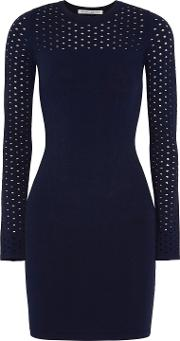 Woman Perforated Paneled Knitted Dress Navy Size S