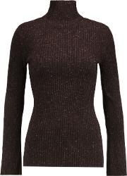 Woman Ribbed Cashmere Turtleneck Sweater Brown