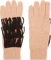 Woman Suede Trimmed Fringed Cashmere Gloves Tan Size Onesize