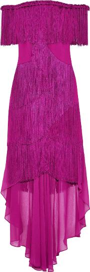 off the shoulder fringed crepe and chiffon gown