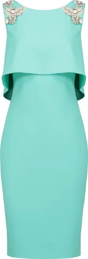 Woman Day Layered Embellished Crepe Dress Turquoise