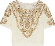 Woman Embellished Lace Top Ivory Size 8