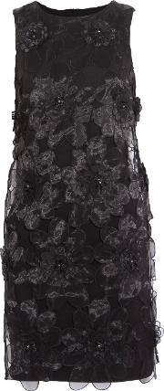 Woman Embellished Organza Paneled Twill Mini Dress Black