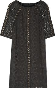 Woman Eyelet Embellished Crochet Knit Paneled Embroidered Georgette Mini Dress Black