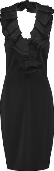 Woman Ruffle Trimmed Crepe Halterneck Dress Black