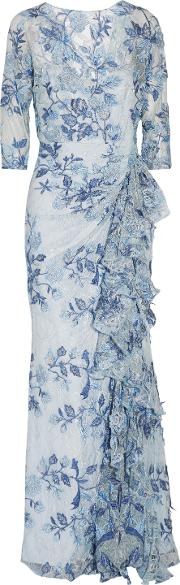 Woman Ruffled Embroidered Lace Gown Light Blue