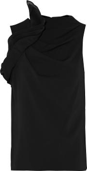 Woman Ruffled Silk Organza Paneled Cady Top Black Size 0