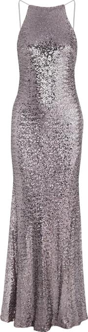 Woman Sequined Tulle Gown Silver Size 14