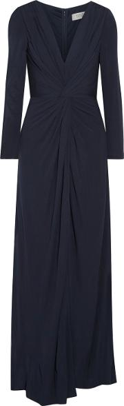 Woman Twist Front Jersey Gown Midnight Blue