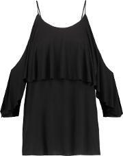 Woman Flutter Cold Shoulder Layered Stretch Jersey Top Black