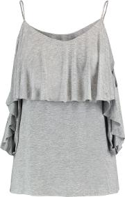 Woman Flutter Cold Shoulder Layered Stretch Jersey Top Gray