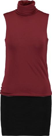 Woman Paneled Ribbed Cotton And Stretch Jersey Turtleneck Mini Dress Burgundy