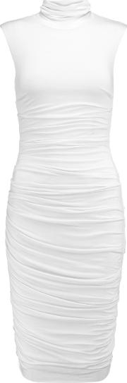 Woman Ruched Stretch Jersey Turtleneck Dress White