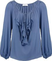 Woman Ruffle Trimmed Stretch Jersey Top Midnight Blue