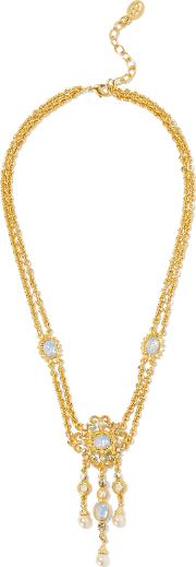 Ben Amun Woman Gold Tone Stone, Crystal And Faux Pearl Necklace Gold
