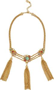 Ben Amun Woman Tasseled Gold Tone, Stone And Crystal Necklace Gold