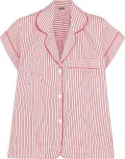 Woman Verbier Striped Swiss Cotton Pajama Top Red