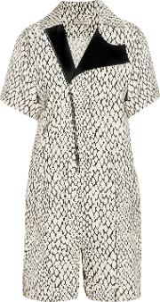 Woman Printed Woven Playsuit Ivory