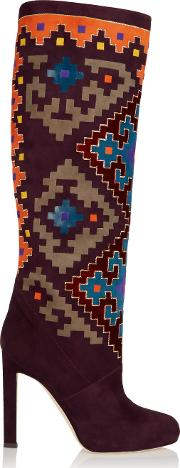 Woman Vicky Suede And Velvet Knee Boots Multicolor Size 41