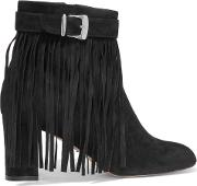 Woman In Full Swing Fringed Suede Ankle Boots Black Size 37