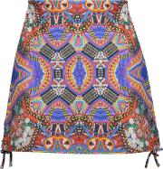 Woman Lace Up Printed Leather Mini Skirt Grape
