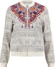 Woman Printed Faille Bomber Jacket Off White Size 8
