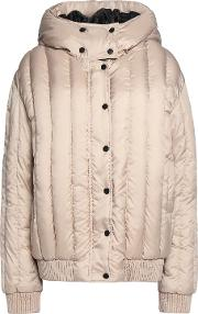 Woman Appliqued Quilted Shell Hooded Coat Mushroom