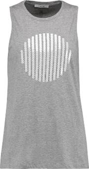 Woman Embellished Cotton Jersey Top Gray