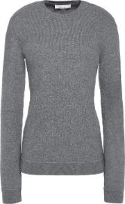 Woman Faux Leather Trimmed Wool Blend Sweater Light Gray