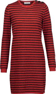 Woman Glittered Striped Wool Blend Mini Dress Red