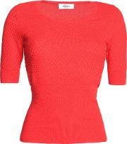 Woman Paneled Ribbed And Textured Wool Blend Sweater Red
