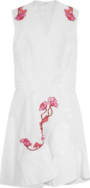 Woman Wrap Effect Embroidered Cotton Twill Mini Dress White