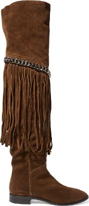 Woman Fringed Chain Embellished Suede Over The Knee Boots Brown