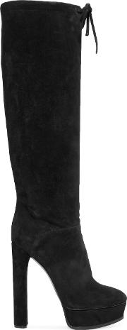 Woman Suede Knee Boots Black Size 40