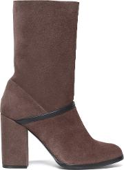 Leather Trimmed Suede Ankle Boots