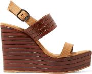 Woman Leather And Canvas Wedge Sandals Camel Size 38