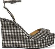 Woman Zula Gingham Canvas Wedge Sandals Black Size 37