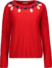 Woman Intarsia Knit Merino Wool And Cashmere Blend Sweater Red Size Xs